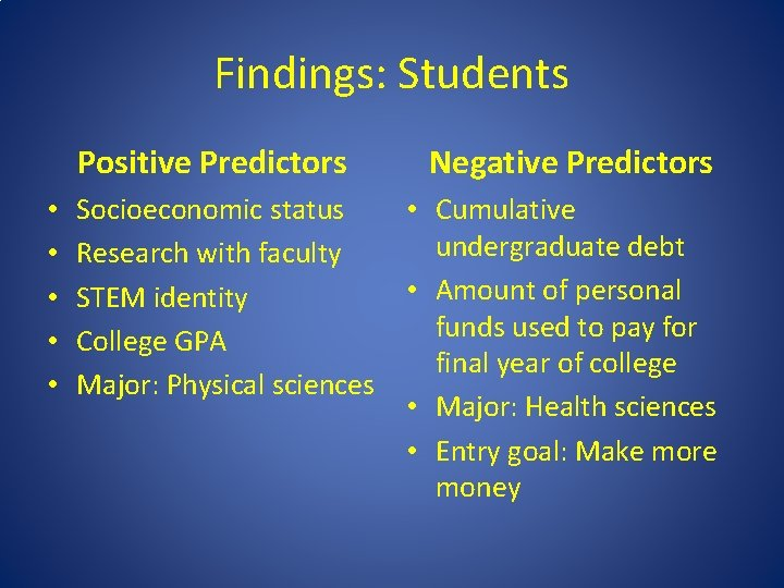 Findings: Students Positive Predictors • • • Socioeconomic status Research with faculty STEM identity