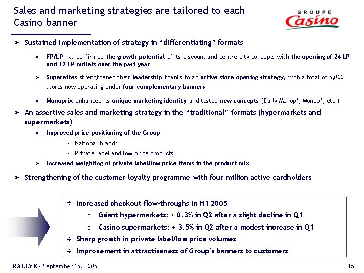 Sales and marketing strategies are tailored to each Casino banner Ø Sustained implementation of