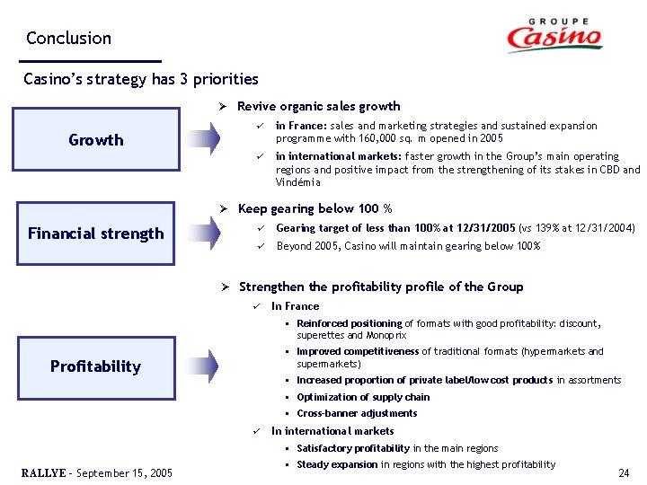 Conclusion Casino's strategy has 3 priorities Ø Growth Ø Financial strength Ø Revive organic