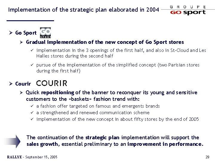 Implementation of the strategic plan elaborated in 2004 Ø Go Sport Ø Gradual implementation