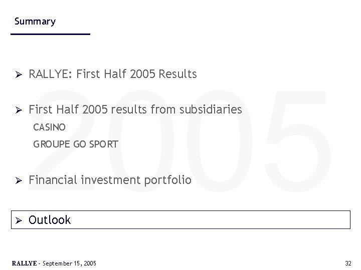 Summary Ø Ø 2005 RALLYE: First Half 2005 Results First Half 2005 results from