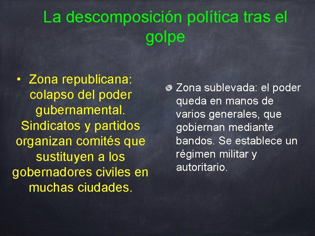 La descomposición política tras el golpe • Zona republicana: colapso del poder gubernamental. Sindicatos