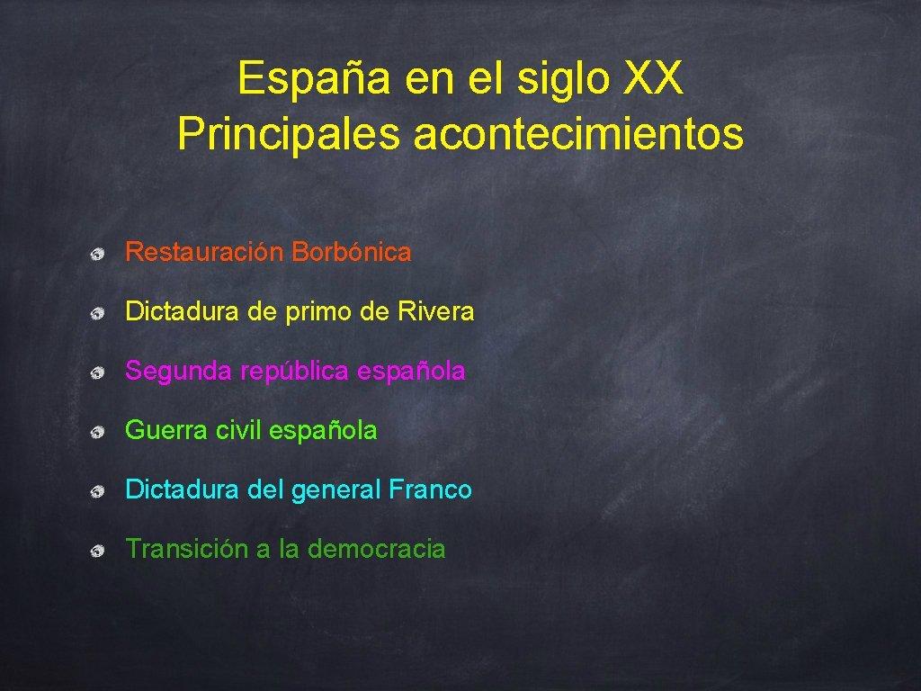 España en el siglo XX Principales acontecimientos Restauración Borbónica Dictadura de primo de Rivera