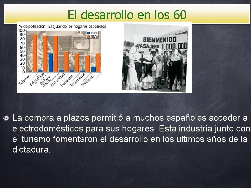 El desarrollo en los 60 La compra a plazos permitió a muchos españoles acceder