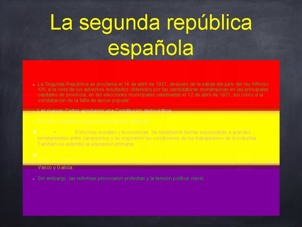 La segunda república española La Segunda República se proclama el 14 de abril de