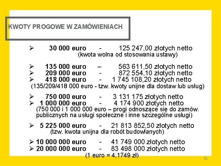 KWOTY PROGOWE W ZAMÓWIENIACH Ø 30 000 euro 125 247, 00 złotych netto (kwota