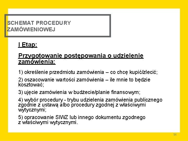 SCHEMAT PROCEDURY ZAMÓWIENIOWEJ I Etap: Przygotowanie postępowania o udzielenie zamówienia: 1) określenie przedmiotu zamówienia