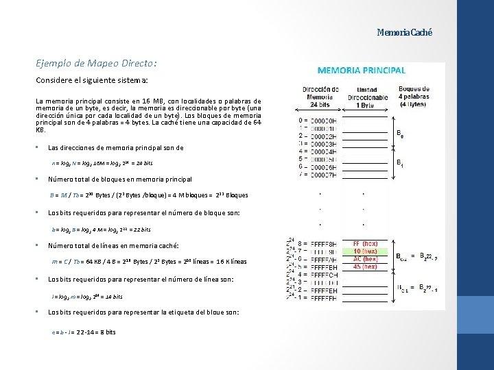 Memoria Caché Ejemplo de Mapeo Directo: Considere el siguiente sistema: La memoria principal consiste