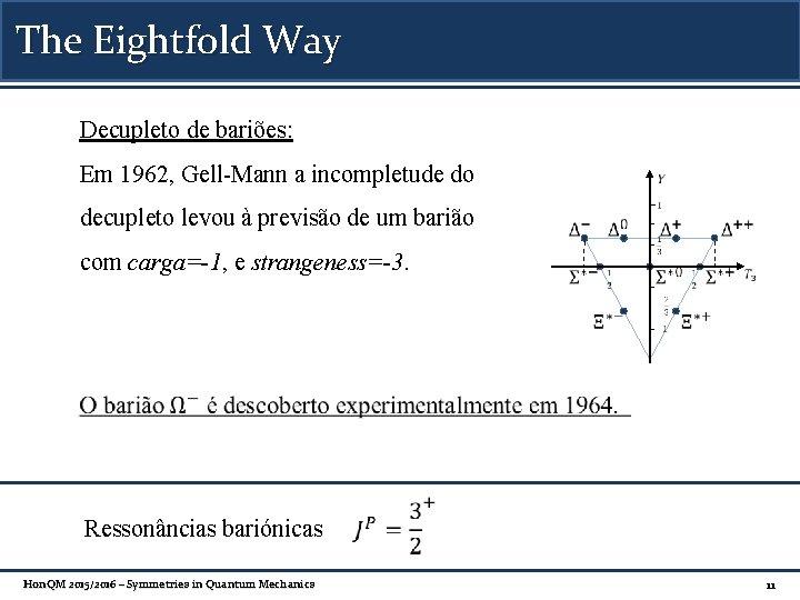 The Eightfold Way Decupleto de bariões: Em 1962, Gell-Mann a incompletude do decupleto levou