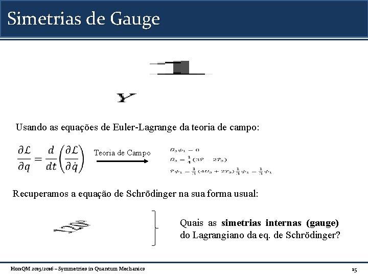 Simetrias de Gauge Usando as equações de Euler-Lagrange da teoria de campo: Teoria de
