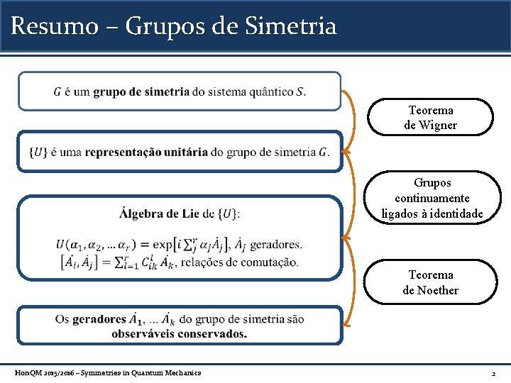 Resumo – Grupos de Simetria Teorema de Wigner Grupos continuamente ligados à identidade Teorema