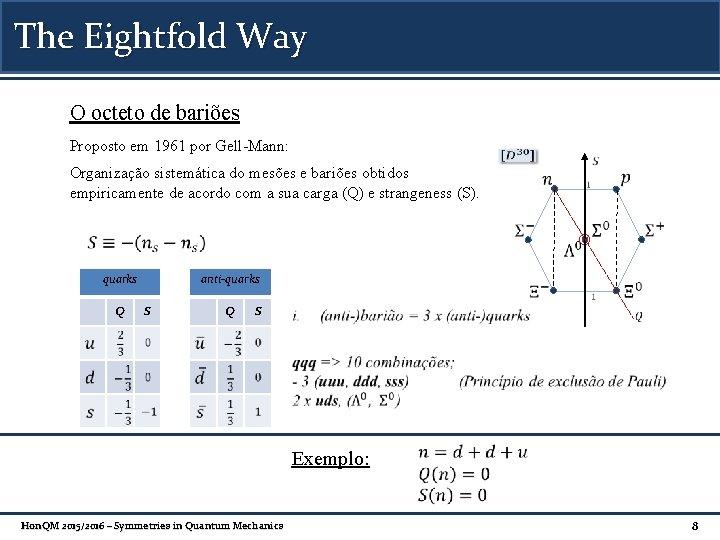The Eightfold Way O octeto de bariões Proposto em 1961 por Gell-Mann: Organização sistemática