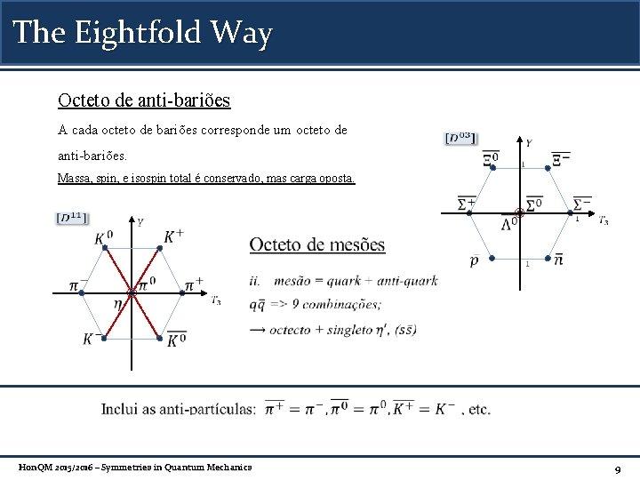 The Eightfold Way Octeto de anti-bariões A cada octeto de bariões corresponde um octeto