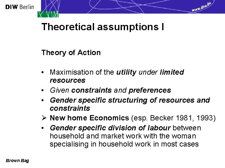 Theoretical assumptions I Theory of Action • Maximisation of the utility under limited resources