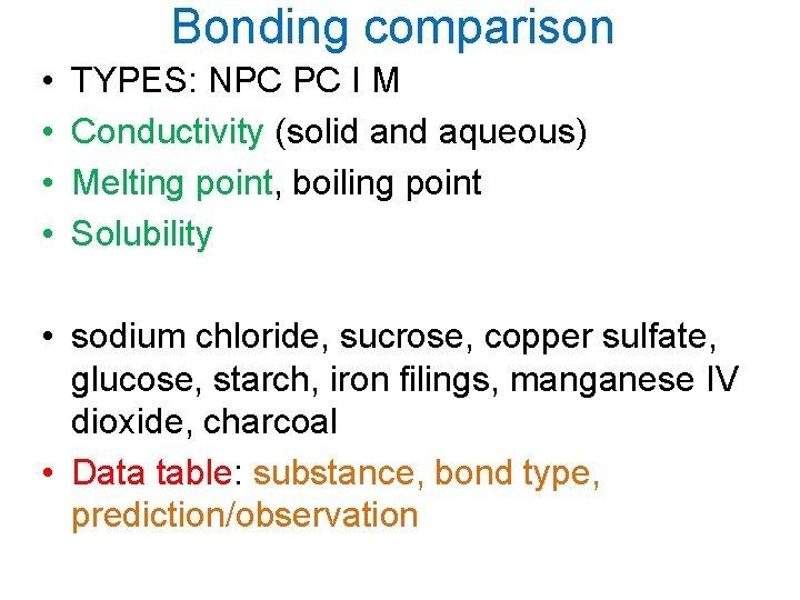 Bonding comparison • • TYPES: NPC PC I M Conductivity (solid and aqueous) Melting