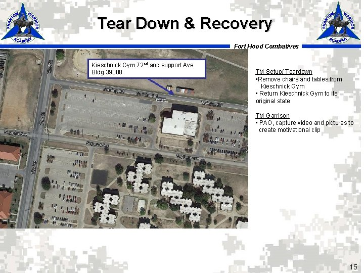 Tear Down & Recovery Fort Hood Combatives Kieschnick Gym 72 nd and support Ave