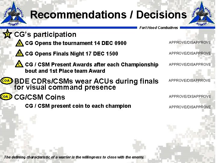 Recommendations / Decisions Fort Hood Combatives 1 COA 2 CG's participation A CG Opens