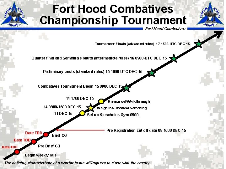 Fort Hood Combatives Championship Tournament Fort Hood Combatives Tournament Finals (advanced rules) 17 1500