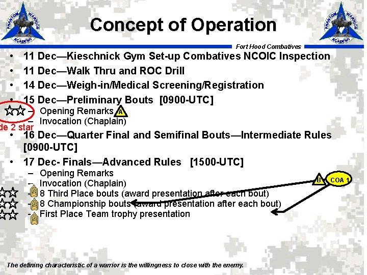 Concept of Operation Fort Hood Combatives • • 11 Dec—Kieschnick Gym Set-up Combatives NCOIC