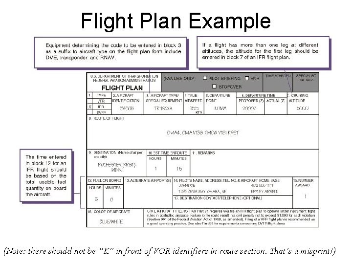 """Flight Plan Example (Note: there should not be """"K"""" in front of VOR identifiers"""