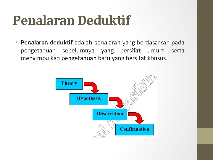 Penalaran Deduktif • Penalaran deduktif adalah penalaran yang berdasarkan pada pengetahuan sebelumnya yang bersifat