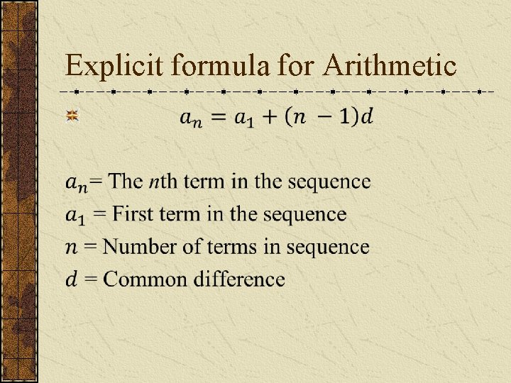 Explicit formula for Arithmetic