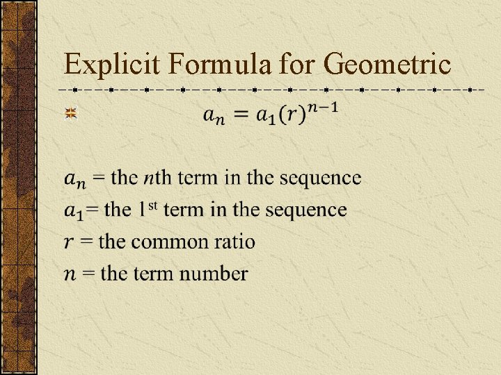Explicit Formula for Geometric