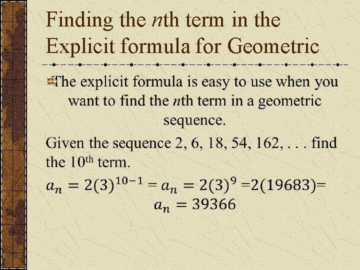 Finding the nth term in the Explicit formula for Geometric