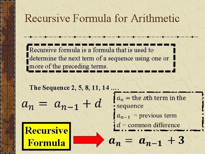 Recursive Formula for Arithmetic Recursive formula is a formula that is used to determine