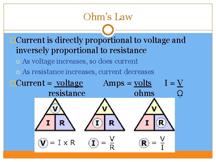 Ohm's Law �Current is directly proportional to voltage and inversely proportional to resistance As