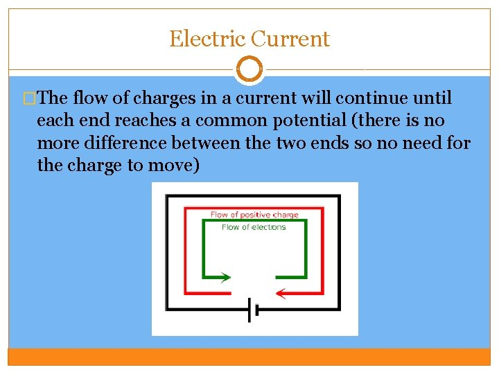 Electric Current �The flow of charges in a current will continue until each end