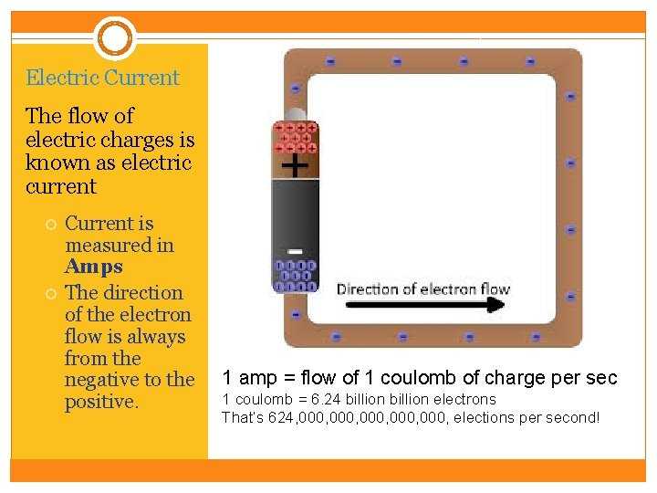 Electric Current The flow of electric charges is known as electric current Current is