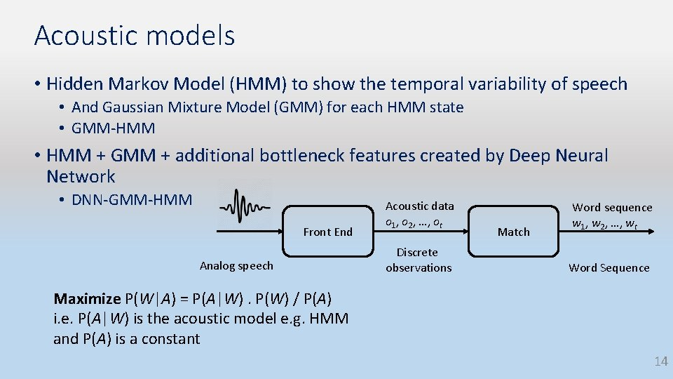 Acoustic models • Hidden Markov Model (HMM) to show the temporal variability of speech