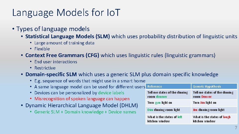Language Models for Io. T • Types of language models • Statistical Language Models