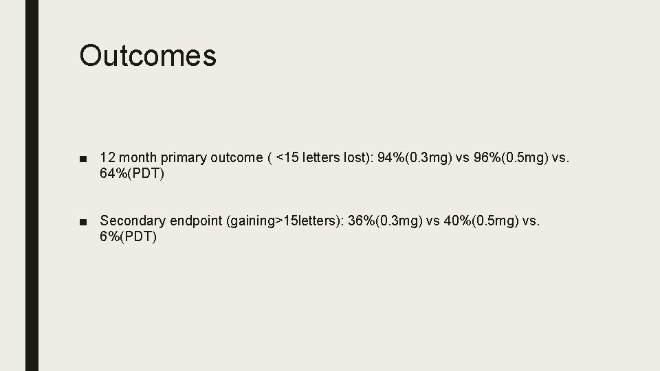 Outcomes ■ 12 month primary outcome ( <15 letters lost): 94%(0. 3 mg) vs