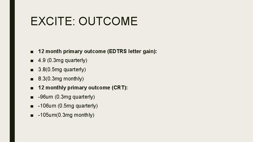 EXCITE: OUTCOME ■ 12 month primary outcome (EDTRS letter gain): ■ 4. 9 (0.