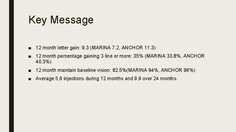 Key Message ■ 12 month letter gain: 9. 3 (MARINA 7. 2, ANCHOR 11.