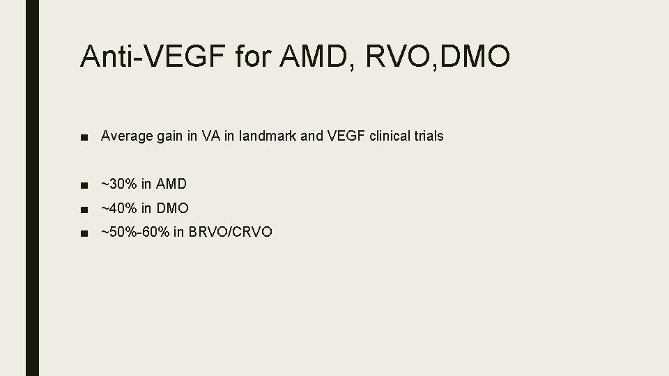 Anti-VEGF for AMD, RVO, DMO ■ Average gain in VA in landmark and VEGF