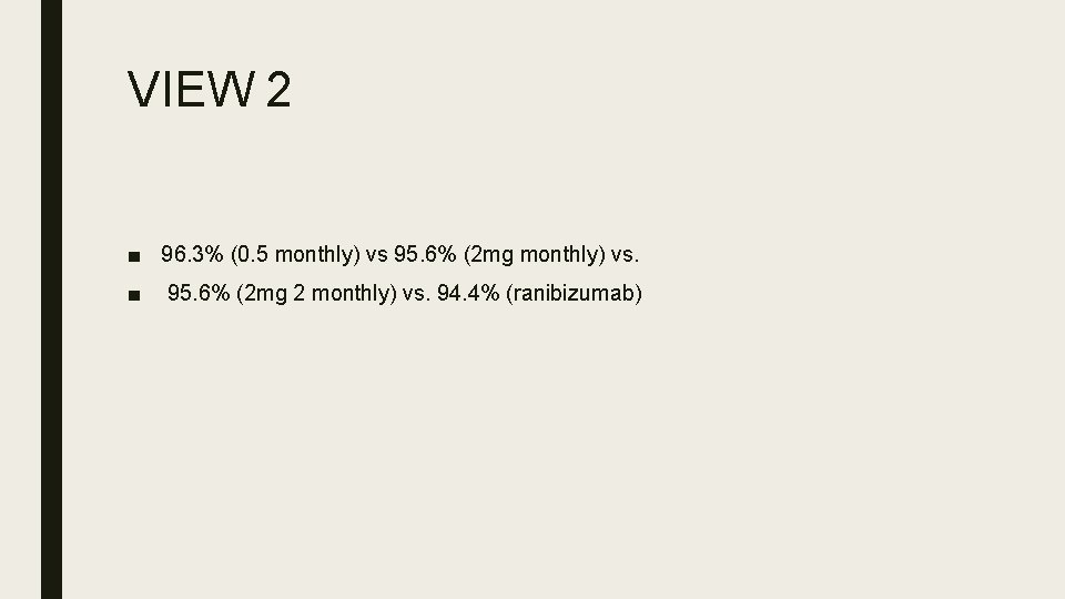 VIEW 2 ■ 96. 3% (0. 5 monthly) vs 95. 6% (2 mg monthly)