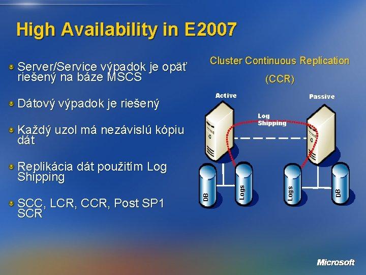 High Availability in E 2007 Cluster Continuous Replication Server/Service výpadok je opäť riešený na