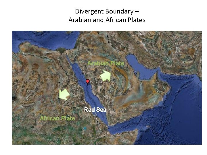 Divergent Boundary – Arabian and African Plates Arabian Plate Red Sea African Plate