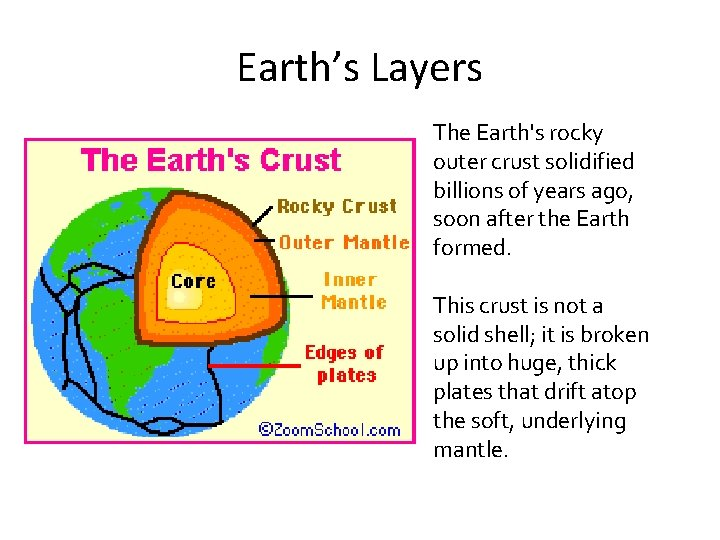 Earth's Layers The Earth's rocky outer crust solidified billions of years ago, soon after