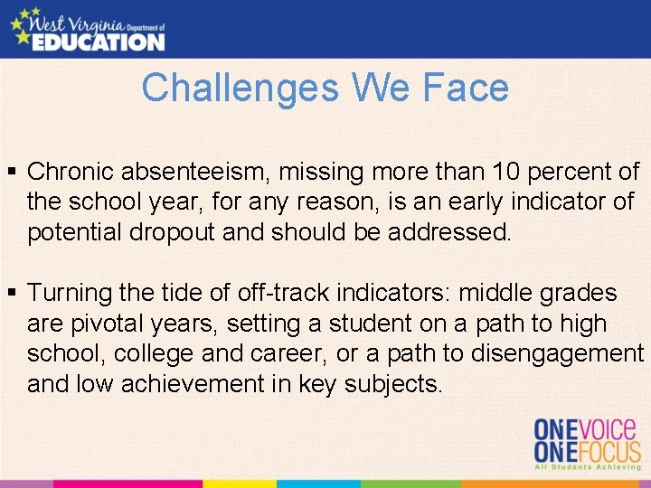 Challenges We Face § Chronic absenteeism, missing more than 10 percent of the school