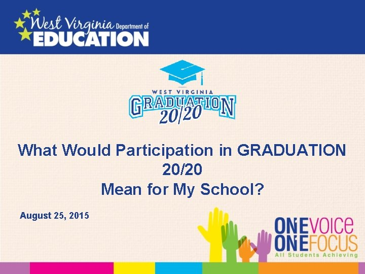 What Would Participation in GRADUATION 20/20 Mean for My School? August 25, 2015