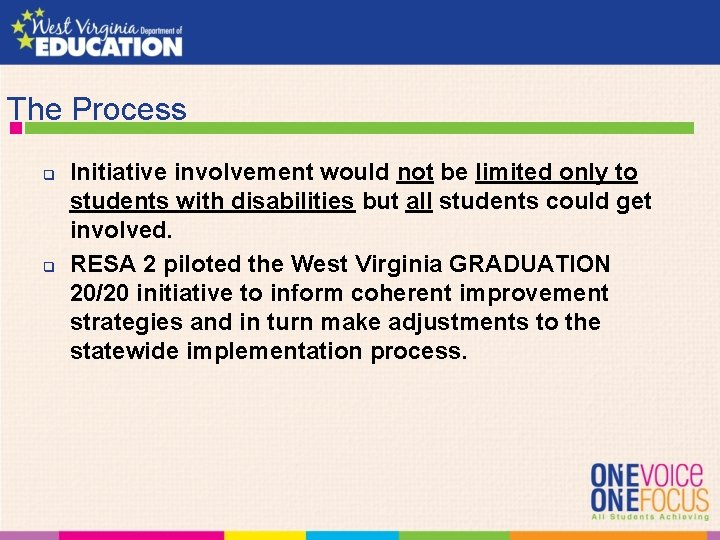 The Process q q Initiative involvement would not be limited only to students with