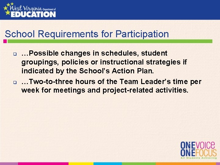 School Requirements for Participation q q …Possible changes in schedules, student groupings, policies