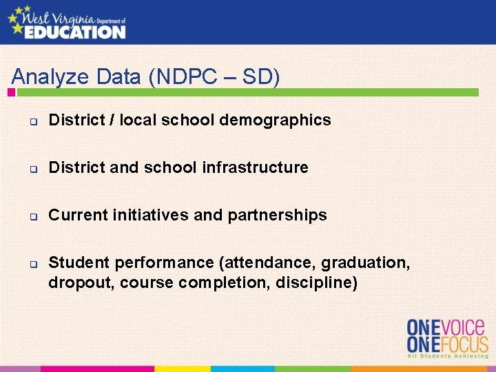 Analyze Data (NDPC – SD) q District / local school demographics q District