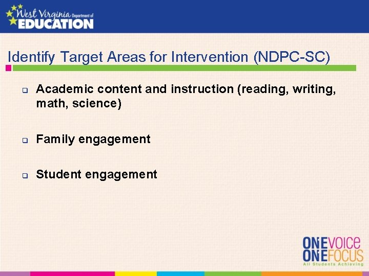Identify Target Areas for Intervention (NDPC-SC) q Academic content and instruction (reading, writing,