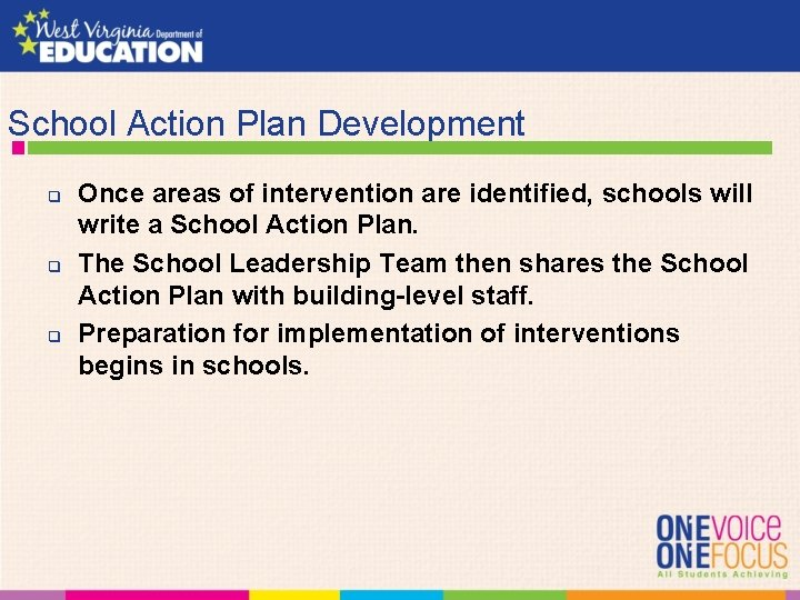 School Action Plan Development q q q Once areas of intervention are identified, schools