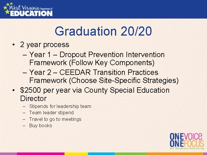 Graduation 20/20 • 2 year process – Year 1 – Dropout Prevention Intervention Framework